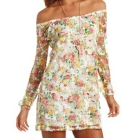 Off-the-Shoulder Floral Print Lace Shift Dress - Peach Combo