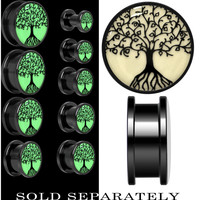 Tree of Life Glow in the Dark Screw Fit Plug in Anodized Black Titanium