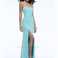 Thigh High Slit Faviana Prom Gown 7360