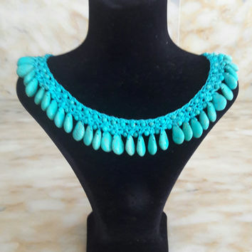Bead Crochet Rope Pattern,Turquoise Necklace,Turquoise choker,three turquoise necklace,turquoise leather necklace,leather turquoise necklace