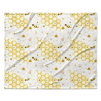"Stephanie Vaeth ""Honey Bees"" White Yellow Fleece Throw Blanket"