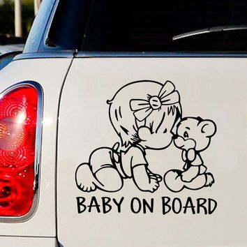 Car Stickers and Decals Funny Decoration Auto Motorcycle Sticker Baby on Board Cute Exterior Accessories Car-Styling