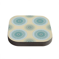 "Julia Grifol ""Soft Mandalas"" Green Yellow Coasters (Set of 4)"