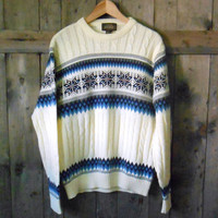 vintage 70s 80s ivory snowflake ski snow knit sweater / mens large xlarge