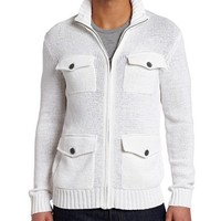 Kenneth Cole New York Men's Zipfront Cardigan, White, XX-Large