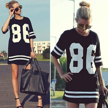 New Summer-autumn Women Celebrity Oversized American Baseball Tee T Shirt Top half Sleeve Loose T-shirt Casual Dress Ladies Long T shirt Dress = 1697115972