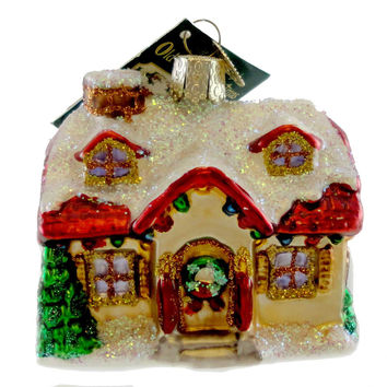 Old World Christmas HOLIDAY HOME Blown Glass Ornament House Realtor Sale 20032