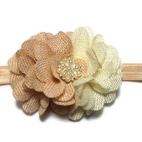 Beige and ivory burlap flower headband  - baby headband - headband for infant little girls toddlers woman