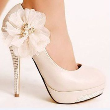 Sweet Ivory Prom Glitter High Heel Stilettos Platform Lace Flower Wedding Shoes