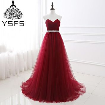 In Stock Real Pic Long A Line Evening Dresses Beaded Belt Sleeveless Formal Party Prom Gownrobe de soiree