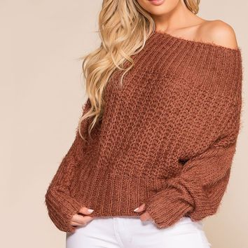 Bailey Cocoa Off The Shoulder Knit Sweater