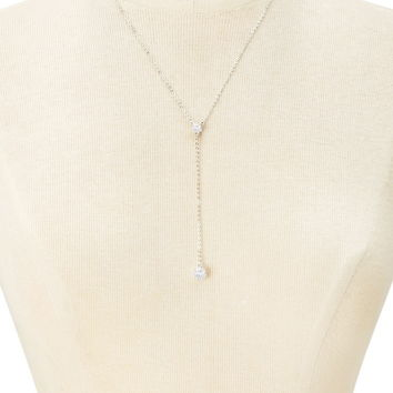 Faux Crystal Drop Necklace