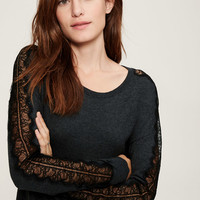 Lacy Sleeve Sweater | LOFT