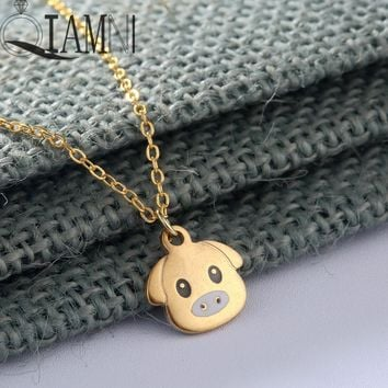 QIAMNI Stainless Steel Cartoon Lovely Animal Pig Necklace Pendant for Women Dog Collars Friendship Jewelry Pet Lover Gift