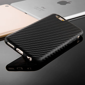 Black White Carbon Fiber Soft Case For Iphone 6 6S 4.7 Plus 5.5 Silicone Leather Hybrid Cover For iPhone 7 Plus Anti-Knock