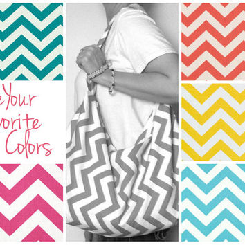Large Hobo Bag - Choose Your Favorite Colors - Summer Beach Bag - Slouchy Bag - Over the Shoulder Bag - Large Zipper Purse - Chevron Bag