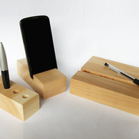 Wood Desk Organizer. 3 in 1 Wood Desk set. Wood iPad Stand, Wood iPhone stand, Wood Pen Holder. Wood Desk Organizer