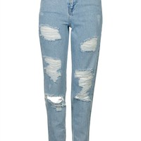 MOTO Super Rip Bleach Mom Jean - Topshop