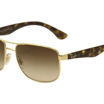 Ray Ban Men's RB3533 RB/3533 001/13 RayBan Gold/Silver Sunglasses 57mm