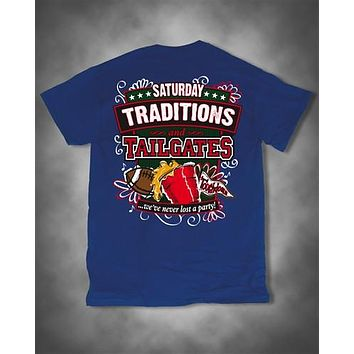 Sweet Thing Saturday Traditions Never Lost a Party Blue Football Girlie Bright T-Shirt