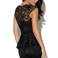 Black Lace Fitted Peplum Dress