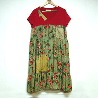 Size XL to XXL Long Boho Chic Dress, Hippie, Funky, Artsy, Upcycled Eco Clothing, Anthropologie Inspired