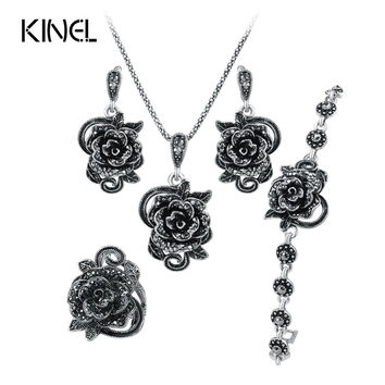 Hot Rose Black Crystal Jewelry Set Plating Ancient Silver 4Pcs/Sets Vintage Wedding Jewelry For Women Valentine 's Gift