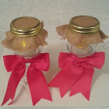 Burlap and pink wedding candle jar / center piece set. Any color to match your wedding