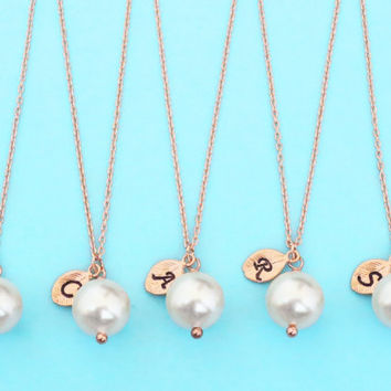 Set of 1-4, Personalized, Letter, Initial, 10mm white pearl, Pink gold chain, Necklace, Wedding, Bridesmaid, Bridal, Gift, Jewelry sets