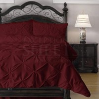 Pinch Pleat Comforter Set - 4-Piece - by ExceptionalSheets, Full, Red