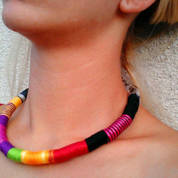 Urban Choker Rope Necklace Thread Wrapped Choker necklace Boho Choker African Choker African Tribal Jewelry Gift for Her Festival Fashion