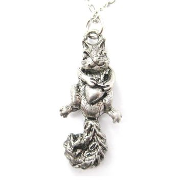 Realistic Squirrel with Acorn Shaped Animal Charm Necklace | MADE IN USA