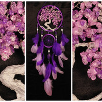 Pink violet Dream Catcher Tree of life Dreamcatcher quartz Dreamсatcher pink violet quartz wall handmade gift Valentine Day pink gift violet
