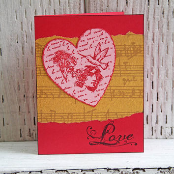 Love Greeting Card, Heart Notecard, Handmade Valentine, Notecard for Wedding Anniversary, Love Note, Embellished Heart, Valentine's Day card