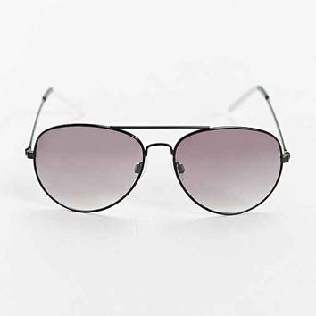 Black + White Tip Aviator Sunglasses- Black & White One