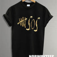 Hot 5 Seconds of Summer Shirt The Gold Tire Printed on White and Black t-Shirt For Men Or Women Size X 18