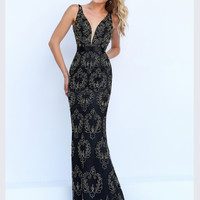 Plunging V-Neckline Sherri Hill Formal Prom Gown 32353