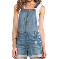 MOTHER Overall Dropout Short in Blue
