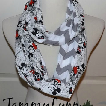 Minnie & Mickey Infinity Scarf Gray Chevron Scarf Women's Tweens, and Children Accessories