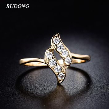 BUDONG 2016 Fashion infinity Twisted Finger Engagement Crystal Ring Cubic Zirconia Gold-Color Wedding Bands For Women XUR020