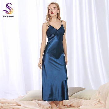 Sexy Silk Nightgown New Summer Women Navy Blue Silk Long Dress Sleepwear V Collar Ladies Bow Lounge Sleepshirts Khaki,Pink,Black