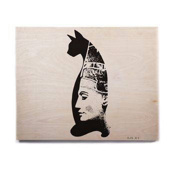 "Ivan Joh ""Cat Egyptian"" Black White Illustration Birchwood Wall Art"