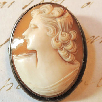 Vintage Shell Cameo, Cameo Brooch, Cameo Pin Pendant, Carved Shell, 900 Silver Cameo, Vintage Cameo, Antique Cameo, Victorian Jewelry