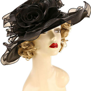 Kentucky Derby Church Wedding Tea Party Large Ruffle Edge Shimmer Rose Organza Hat -Black