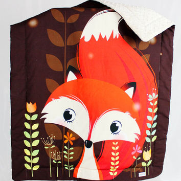 Baby Blanket  Overlay Throws Minky Fox Orange Brown Beige stroller buggy blanket car Blankets  light fibres