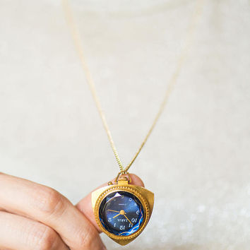 Limited edition blue watch pendant, gold plated women's watch necklace geometric, trigonal watch pendant Dawn blue transparent cover gift