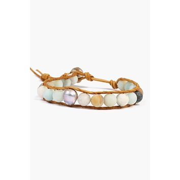 Chan Luu Multi-Amazonite Single Wrap Bracelet With Grey Baroque Pearl (Pre-Order)
