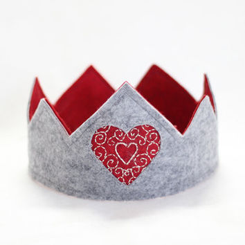 Queen of Hearts Felt Toddler Play Crown