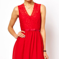Red V- Neck Skater Dress with Ribbon Waistband