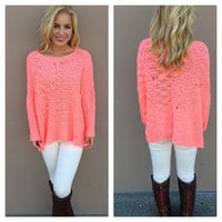 Neon Pink Distressed Knit Sweater
